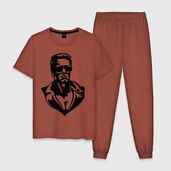 Пижама хлопковая мужская Железный Арни цвета кирпичный — фото 1