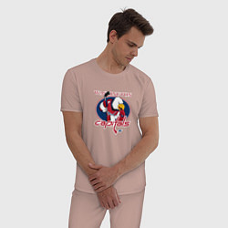 Пижама хлопковая мужская Washington Capitals Hockey цвета пыльно-розовый — фото 2