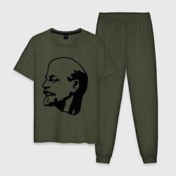 Пижама хлопковая мужская Ленин: скульптура цвета меланж-хаки — фото 1