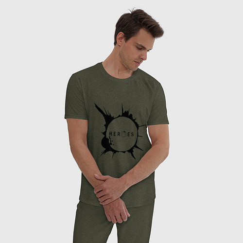 Мужская пижама Heroes spot / Меланж-хаки – фото 3