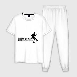 Пижама хлопковая мужская House MD цвета белый — фото 1