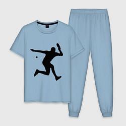 Пижама хлопковая мужская Table tennis training цвета мягкое небо — фото 1