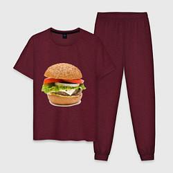 Пижама хлопковая мужская Гамбургер цвета меланж-бордовый — фото 1