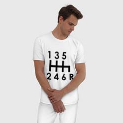 Пижама хлопковая мужская Коробка передач цвета белый — фото 2
