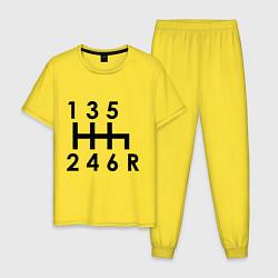 Пижама хлопковая мужская Коробка передач цвета желтый — фото 1