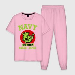 Пижама хлопковая мужская Navy: Po-1967 цвета светло-розовый — фото 1