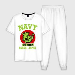 Пижама хлопковая мужская Navy: Po-1967 цвета белый — фото 1