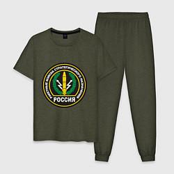 Пижама хлопковая мужская РВСН цвета меланж-хаки — фото 1