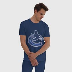 Пижама хлопковая мужская Vancouver Canucks цвета тёмно-синий — фото 2