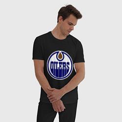 Пижама хлопковая мужская Edmonton Oilers цвета черный — фото 2