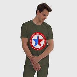 Пижама хлопковая мужская Федерация САМБО цвета меланж-хаки — фото 2