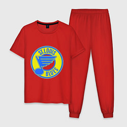 Пижама хлопковая мужская St.luis blues цвета красный — фото 1