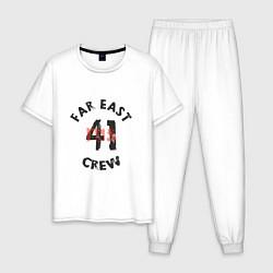 Пижама хлопковая мужская Far East 41 Crew цвета белый — фото 1