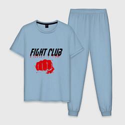 Пижама хлопковая мужская Fight Club цвета мягкое небо — фото 1