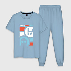 Пижама хлопковая мужская Twenty One Pilots цвета мягкое небо — фото 1