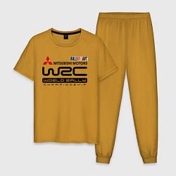 Пижама хлопковая мужская Mitsubishi wrc цвета горчичный — фото 1