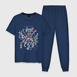 Пижама хлопковая мужская Moscow Metro цвета тёмно-синий — фото 1