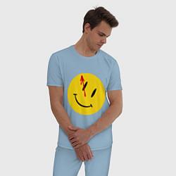 Пижама хлопковая мужская Cмайл с кровью цвета мягкое небо — фото 2