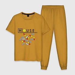 Пижама хлопковая мужская House M.D. Pills цвета горчичный — фото 1