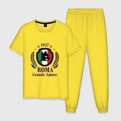Пижама хлопковая мужская AS Roma: Grande Amore цвета желтый — фото 1
