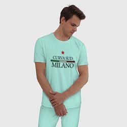 Пижама хлопковая мужская Curva Sud: Milano FC цвета мятный — фото 2