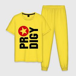 Пижама хлопковая мужская Prodigy Star цвета желтый — фото 1