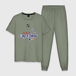Пижама хлопковая мужская Washington Capitals: Ovechkin 8 цвета авокадо — фото 1
