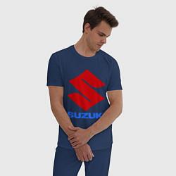 Пижама хлопковая мужская Suzuki цвета тёмно-синий — фото 2