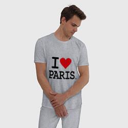 Пижама хлопковая мужская I love Paris цвета меланж — фото 2