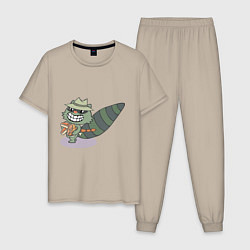 Пижама хлопковая мужская HTF: Lifty цвета миндальный — фото 1