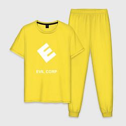 Пижама хлопковая мужская Evil corporation цвета желтый — фото 1