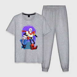Пижама хлопковая мужская Sans & Papyrus цвета меланж — фото 1