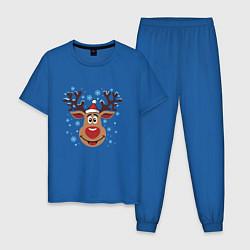 Пижама хлопковая мужская Олень под снегом цвета синий — фото 1