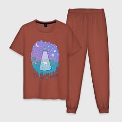 Пижама хлопковая мужская Alien цвета кирпичный — фото 1