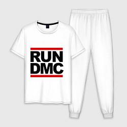 Пижама хлопковая мужская Run DMC цвета белый — фото 1