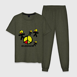 Пижама хлопковая мужская Olodum цвета меланж-хаки — фото 1