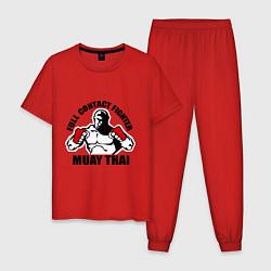 Пижама хлопковая мужская Full Contact Fighter цвета красный — фото 1