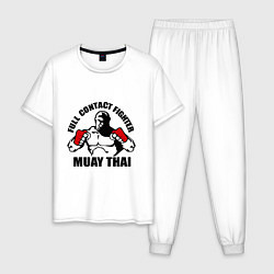 Пижама хлопковая мужская Full Contact Fighter цвета белый — фото 1