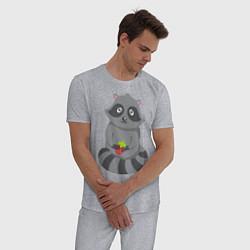 Пижама хлопковая мужская Енотик с клубникой цвета меланж — фото 2