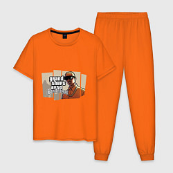 Пижама хлопковая мужская GTA San Andreas цвета оранжевый — фото 1