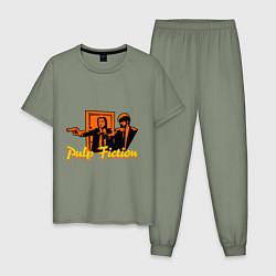 Пижама хлопковая мужская Pulp Fiction цвета авокадо — фото 1