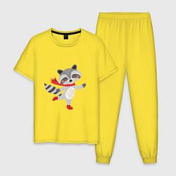 Пижама хлопковая мужская Новогодний енот цвета желтый — фото 1
