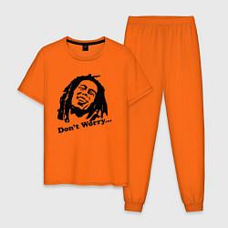 Пижама хлопковая мужская Bob Marley: Don't worry цвета оранжевый — фото 1