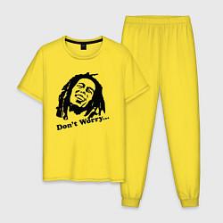 Пижама хлопковая мужская Bob Marley: Don't worry цвета желтый — фото 1