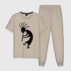 Пижама хлопковая мужская Туземец цвета миндальный — фото 1