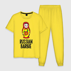 Пижама хлопковая мужская Russian Barbie цвета желтый — фото 1