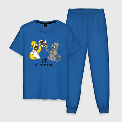 Пижама хлопковая мужская Kill all humans цвета синий — фото 1