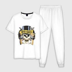 Пижама хлопковая мужская Guns n roses цвета белый — фото 1
