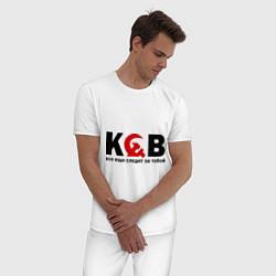 Пижама хлопковая мужская КГБ — все еще следит цвета белый — фото 2