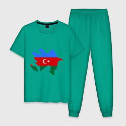 Пижама хлопковая мужская Azerbaijan map цвета зеленый — фото 1